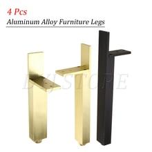4 Pcs Aluminum Alloy Furniture Legs Table Tea Stand Bed Foot Sofa TV Cabinet Foot Metal Foot Hardware Accessories