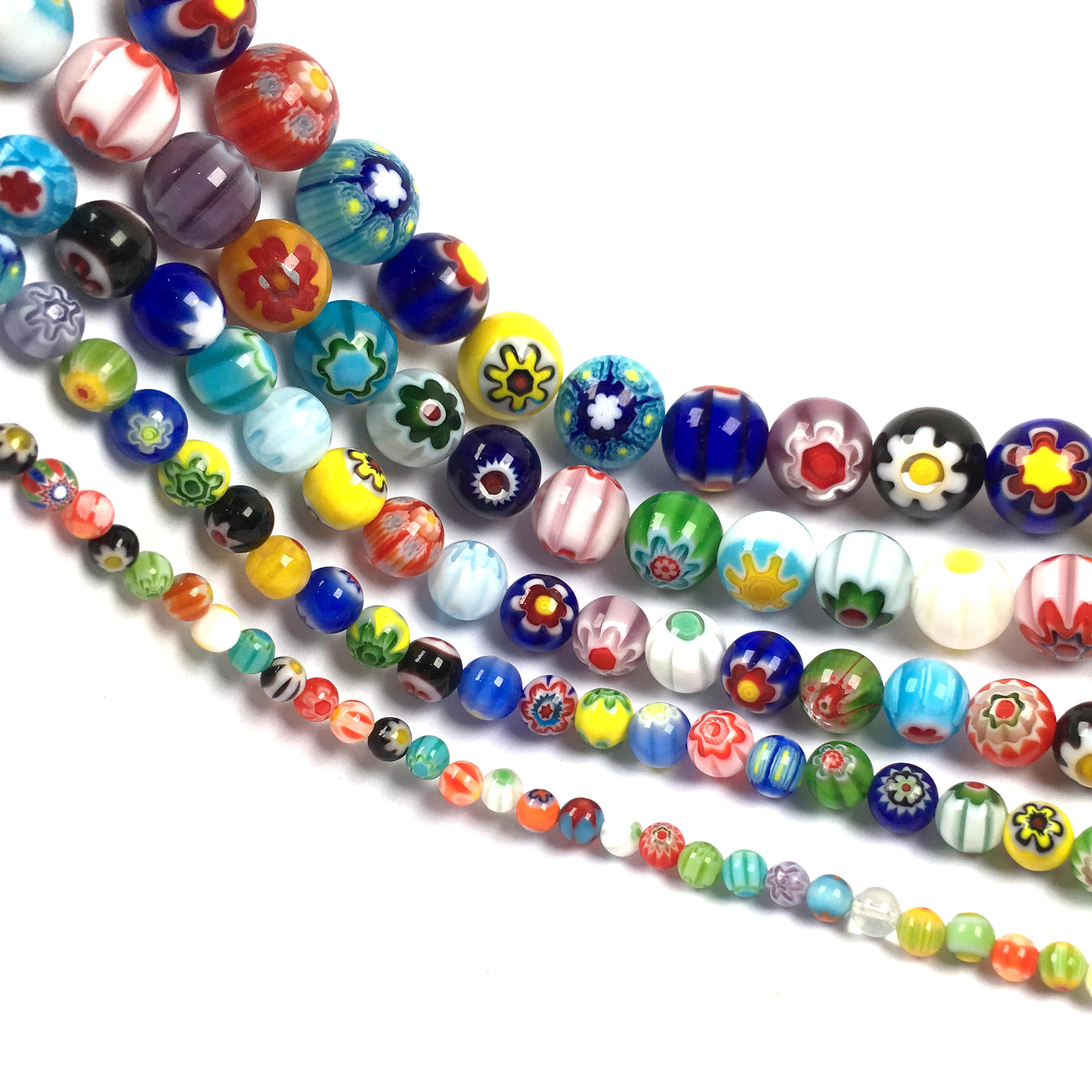 Wholesale Glass Beads Round Painting Flower Stone Beads for Jewelry Making Diy Glass Bracelets Necklace Jewelry 4/6/8/10mm 38cm