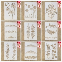 9Pcs A4 29*21cm Flowers Leaves Symbol DIY Layering Stencils Wall Painting Scrapbook Coloring Embossing Album Decorative Template