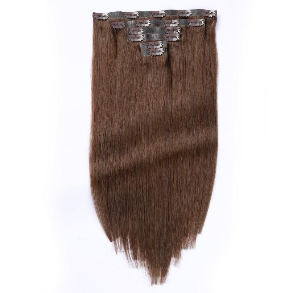 Clip In PU senza cuciture nelle estensioni dei capelli 7 pezzi Set 80-130 grammi 14-24 pollici