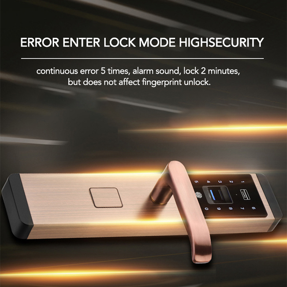 New Security Door Lock Intelligent Door Lock Waterproof Touched Screen Anti-theft 100 Groups Fingerprint Password Door Lock