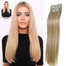 9 цветов 16 зажимы длинные прямые синтетические волосы для наращивания зажимы в высокой температуре волокна черный коричневый шиньон