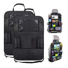 Banco de trás do carro organizador com tela sensível ao toque tablet titular + 9 bolsos armazenamento kick esteiras assento de carro volta protetores para crianças