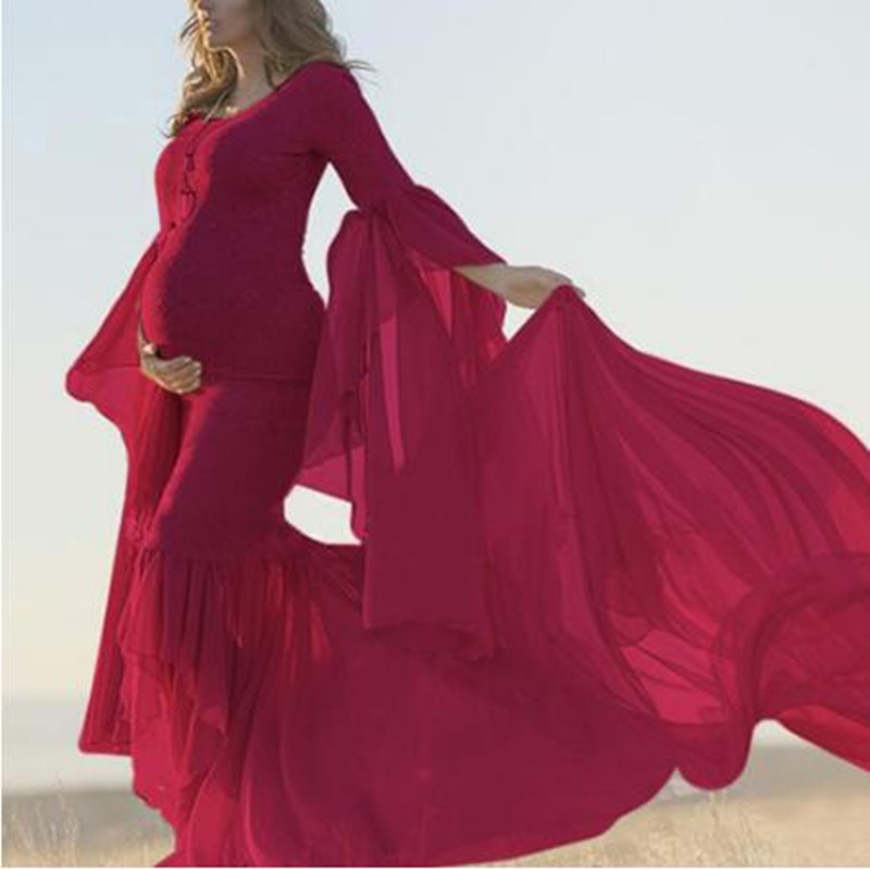 Maternity Maxi Dresses For Pregnant Women Summer Strapless Shoulder Flare Sleeve Gown Lace  Dress Pregnancy Photography Props