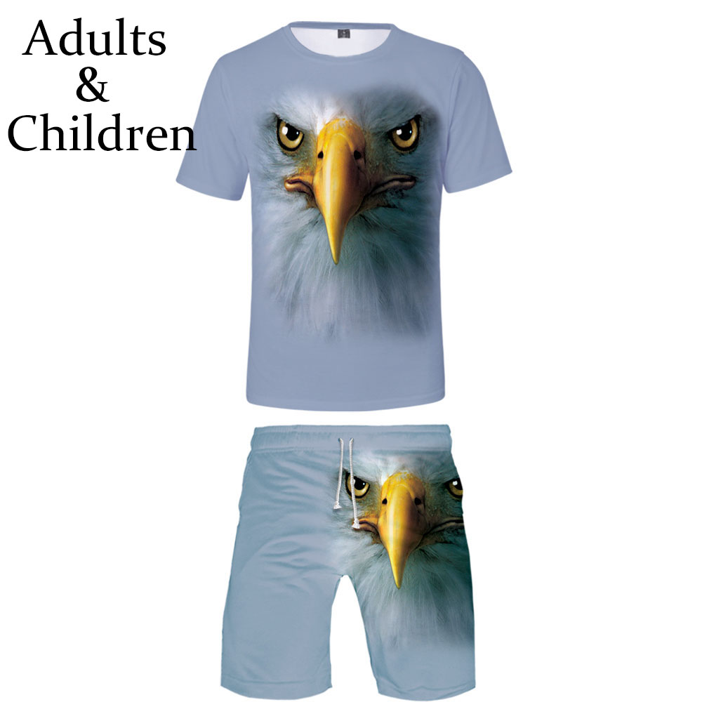 3D Animal Eagle Printed Two-Piece Sets Fashion Summer Short Sleeve T-shirts+Casual Shorts Hot Sale Cool Hawk Boys Girls Clothes