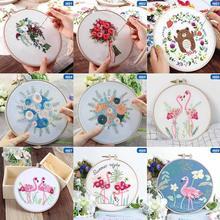 Europa diy fita flores bordado conjunto sem moldura para iniciante kits de costura ponto cruz série artes artesanato costura