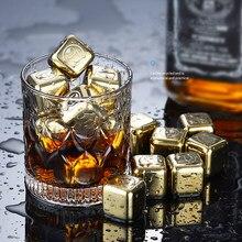 Refroidisseur en acier inoxydable pour vin et Whisky doré, Cubes de glace refroidissants, rochers de refroidissement, seau à glace, réutilisable