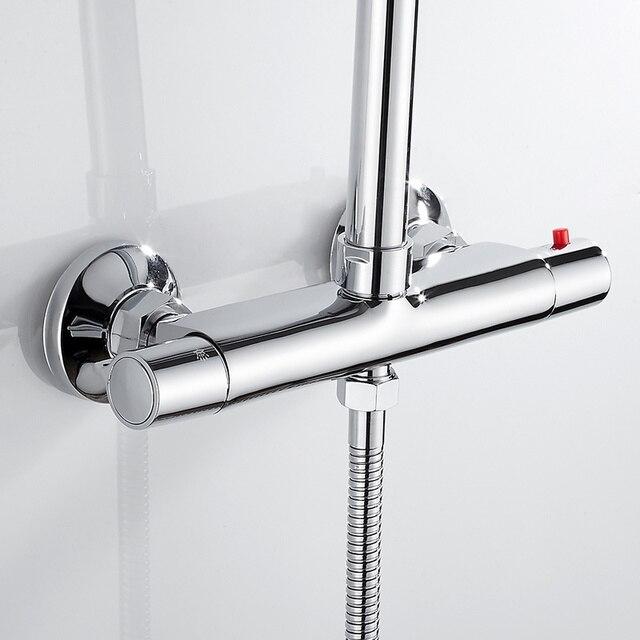 목욕 샤워 꼭지 온도 조절 수도꼭지 벽 마운트 믹서 밸브 탭 온도 제어 비 샤워 크롬 욕실 트윈 아울렛