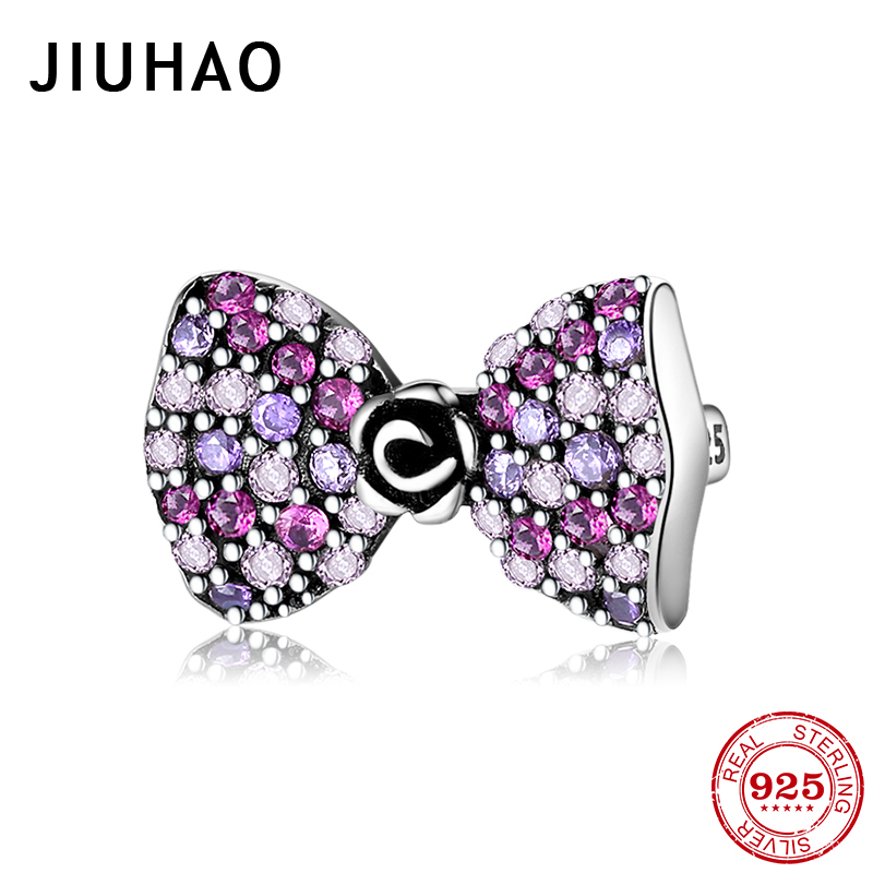 Colorful Zircon Bow-knot 925 Sterling Silver Clips Beads For Jewelry Making Fit Original Reflections Bracelet Women Jewellery