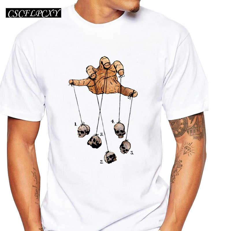 Vendita calda divertente di disegno cinque danza del cranio creativo stampato da uomo su misura t-merda zombie mano maschio di halloween top pantaloni a vita bassa tee