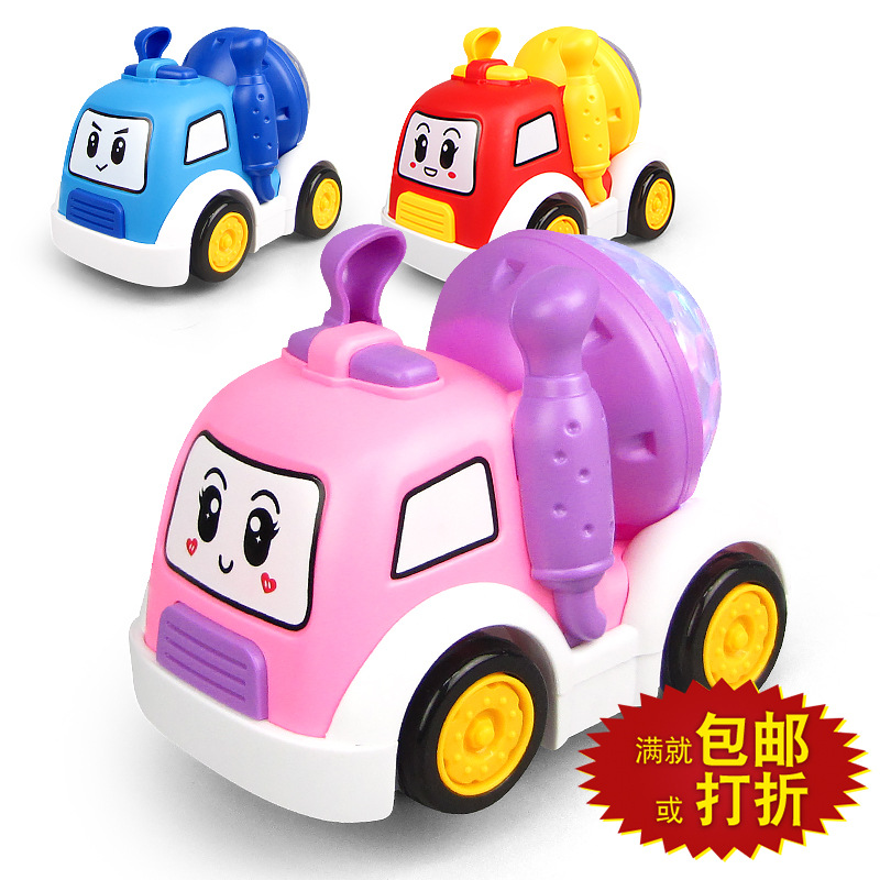 New Style Electric Universal Cartoon Q Meng Small Cement Motorcade Light And Sound Stall Hot Selling CHILDREN'S Toy