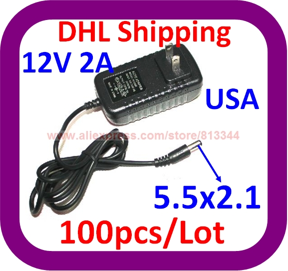 100pcs 12V 2A Power Supply Adapter US Plug For 3528 5050 Strip LED 24W adapter