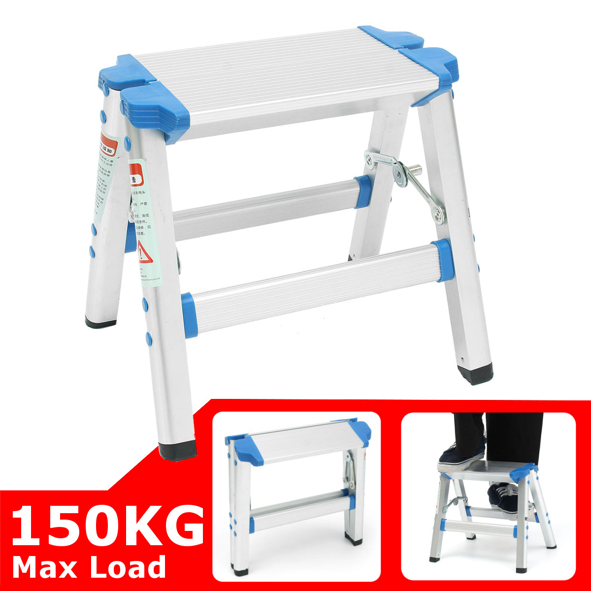 Anti Slip Small Folding Ladder Safety Step Ladder Folding Step Stools Construction Tool Multifunctional Aluminium