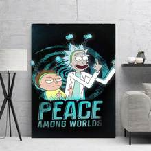 Peace rick and morty Posters And Prints Pop Art Room Decor Canvas HD Picture Wall Pictures For Living Room Art Print(China)