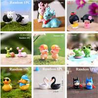 1 pieza miniatura Jardín de hadas Mini lindo pequeño pato Amarillo/oveja/cerdo/conejo/vaca resina artesanías para la decoración de planta para jardín doméstico
