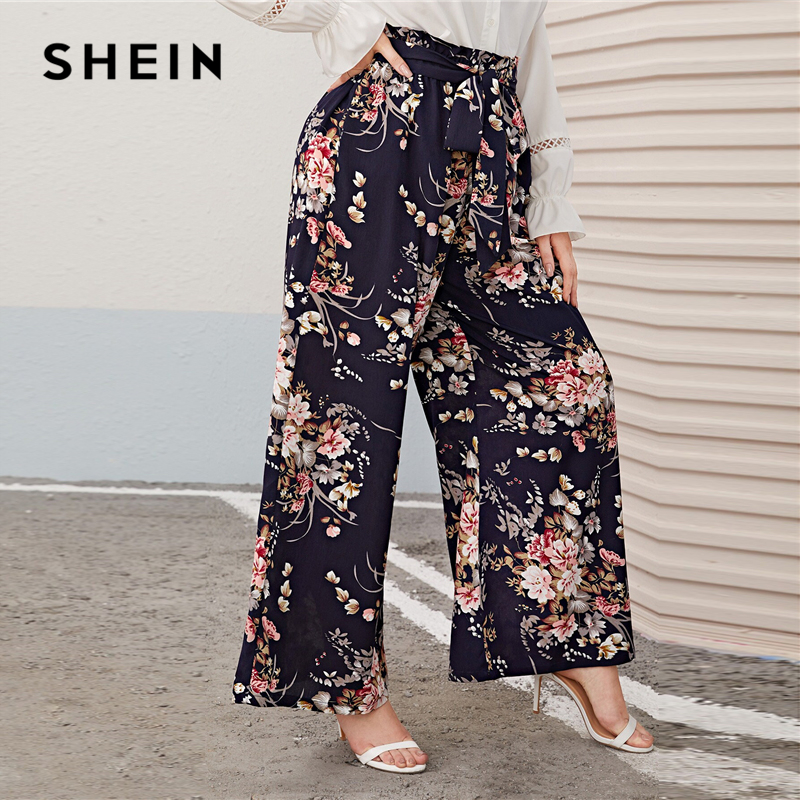 SHEIN Plus Size Multicolor Paperbag Waist Floral Print Wide Leg Pants Women Autumn Spring Boho Belted Long Loose Trousers 2