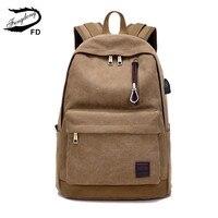 FengDong canvas backpack men school bag usb charge school backpack for boy book bag male travel backpack gifts for boys bagpack