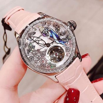 Reef Tiger/RT Fashion Watches for Women Leather Strap Waterproof Automatic Watches Diamond Tourbillon Watch RGA7105