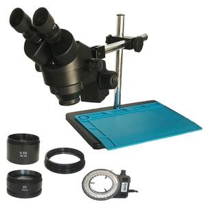 Монокулярный стереомикроскоп с поддержкой 3,5x-90X, промышленный сотовый телефон, Ремонт печатной платы, увеличительное увеличение 0,5x 2,0 X, инс...