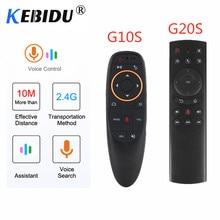 Kebidu g20s/g10s 2.4g 무선 에어 마우스 자이로 스코프 ir 학습 스마트 음성 자이로 원격 제어 x96 h96 max 안드로이드 박스