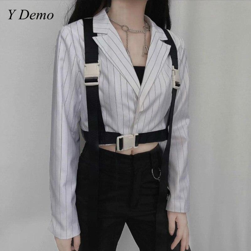 New Cusual Short Buckle Strap Blazer Women Long Sleeve Ribbon Jacket