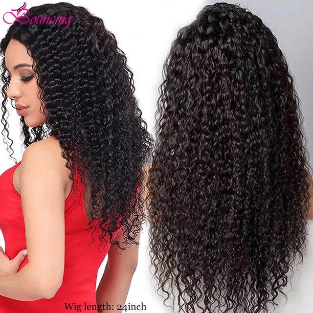 מתולתל שיער טבעי פאות 13x4 עמוק חלק שקוף תחרה מול הקפצה שיער פאות 8 24 אינץ מתולתל 150 צפיפות רמי PrePlucked פאות