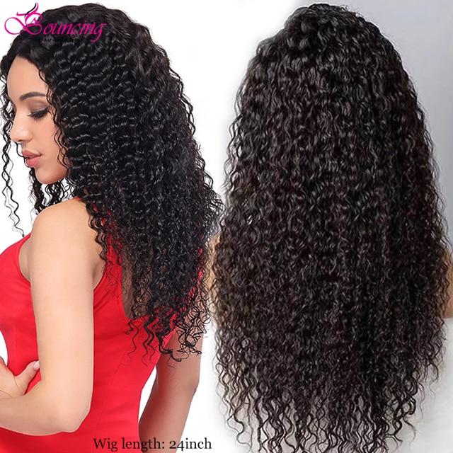 Kıvırcık insan saçı peruk 13x4 derin kısmı şeffaf dantel ön zıplayan saç peruk 8 24 inç kıvırcık 150 yoğunluk remy önceden koparıp peruk
