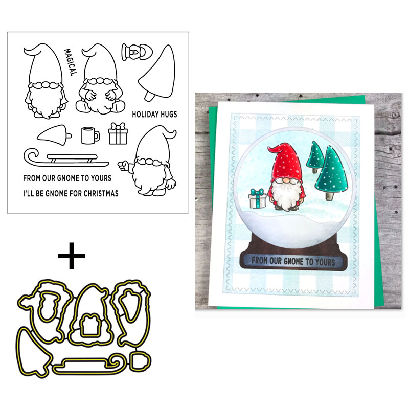 Holiday Gnomes Clear Stamps Coordinating Dies For DIY Scrapbooking Craft Cards