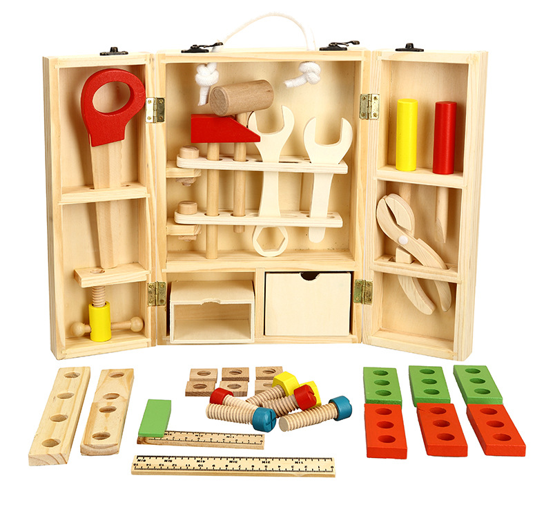 [Funny] Wooden repair tools Child Carpenter Construction Tool Box Boy Pretend Play mechanic maintenance Model Building Kits Toy