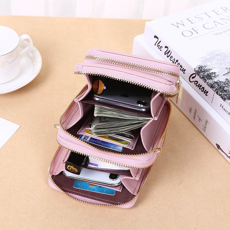 Women's Crossbody Bag Mobile Phone Ladies Wallet PU Long Large Capacity Multi-function Mini Bag Shoulder Bag Messenger Bag