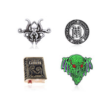 Howard Phillips Lovecraft Cthulhu Mythos Pins Brooch Vintage Octopus Book Literature Badge Brooches for Women Men Lapel Pin Gift(China)