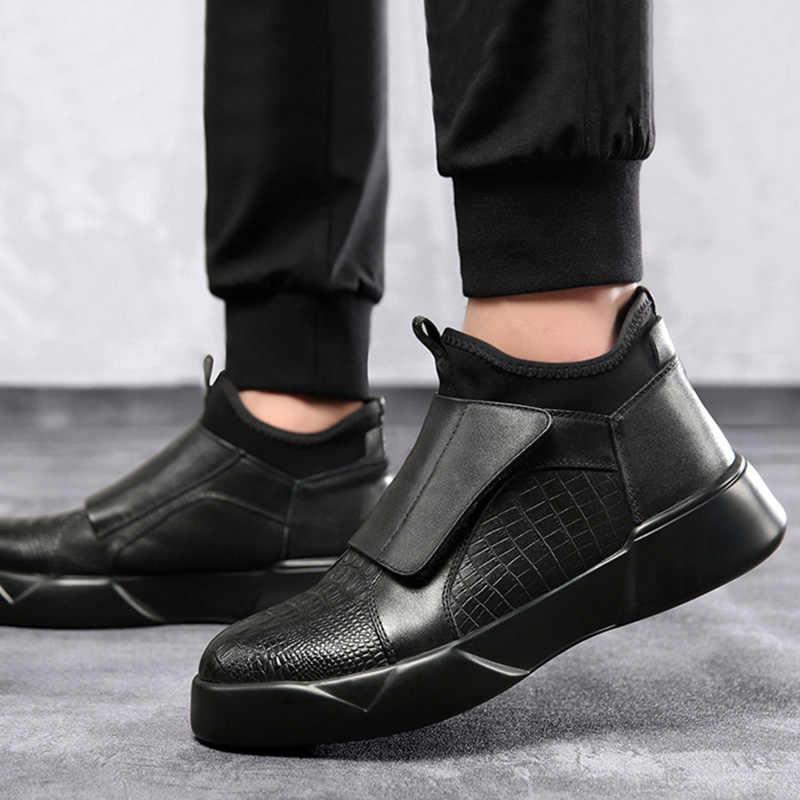 Siyah deri ayakkabı Erkekler Erken Kış Botları Serin Genç Erkekler Moda Chelsea Çizmeler Erkekler rahat ayakkabılar Erkek Kış Ayakkabı KA1756