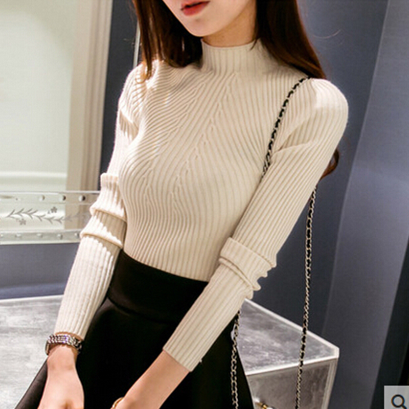 Solid Knit Sweater Women Semi-high Collar Sweater Long Sleeve Autumn Thin Collar Collar Slim Bottoming Shirt Wild Color Sweater