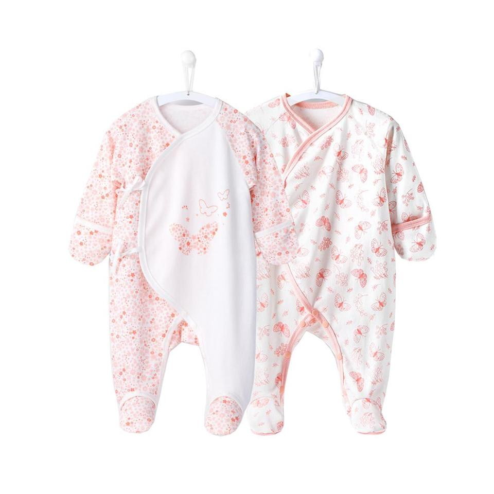 COBROO Newborn Baby Footies Pajamas with Mitten Socks Baby Clothes 0-6 Months