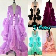 Hot Sale Fashion Gown Mesh Fur Babydolls Sleepwear Sexy Women Lingerie Robe Nigh