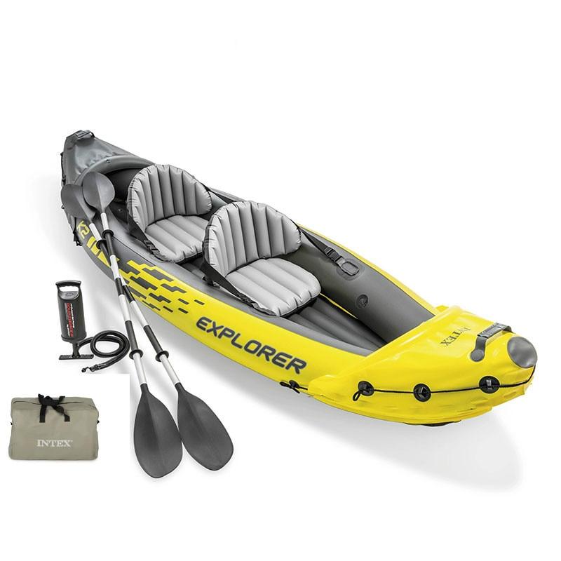 Nenhum imposto inflável caiaque explorador k2 água esporte barco de pesca portátil para dupla pessoa pvc barco caiaques 2 assentos bomba pá