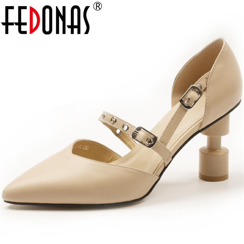 FEDONAS Pointed Toe 2020 Women Slip On Wedding Pumps Spring Summer Strange Heels Pumps Cow Genuine Leather Basic New Shoes Woman