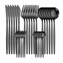 Service de table noir en acier inoxydable, 30 pièces, 18/10, vaisselle, lavable au lave-vaisselle, coutellerie, couteau, fourchette, cuillère, couverts, livraison directe