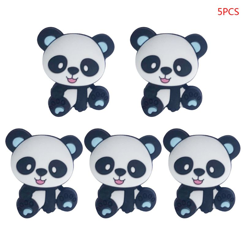 5 Pcs/pack Silicone Beads Cartoon Mini Panda Baby Teether DIY Newborn Molar Teething Toy
