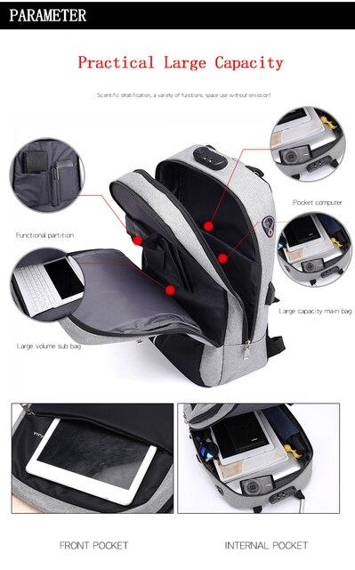 "OUBDAR Men Multifunction Anti Theft Backpack 15.6"" Inch Laptop Usb Charging Backpacks Waterproof Schoolbag Business Travel Bags 3"