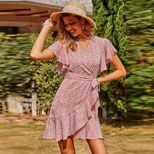 Vestido de praia floral de verão para as mulheres com decote em v de manga curta de cintura alta moda senhoras mini vestido estampado babados vestido vintage