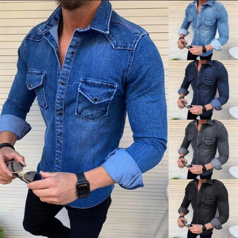 New Men's Denim Jackets Fashion Shirts Casual Jeans Long Sleeve Pocket Slim Fit Button Autumn Soild Color Turn Down Collar Tops