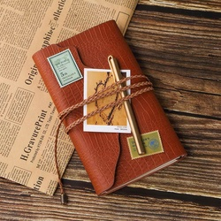 Vintage A6 PU skórzany notes podróżny pamiętnik Vintage notatnik skórzany zeszyt z okładką dziennik podróżnika papiernicze prezent