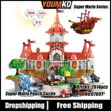67601 Super Mario Serie Elektronische Spiel Pfirsich Burg Modell Bausteine 2614 stücke Ziegel Modell Sets Ausbildungen Spielzeug Geschenk