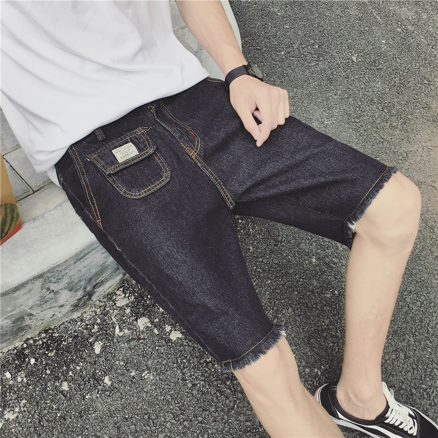 Summer Men Thin Denim Shorts Young MEN'S Students Shorts Slim Fit Straight-Cut Casual 5 Shorts Fashion Man