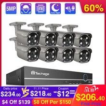 Techage 8CH 5MP Poe Nvr Bewakingscamera Ai Menselijke Detectie Twee weg Audio Ip Camera Outdoor Ir Cctv video Surveillance Kit