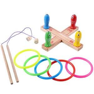 Toy Plastic-Ring Sport-Toys Garden-Game Wooden Outdoor Kids 3-In-1 Hoop Ring-Toss Quoits