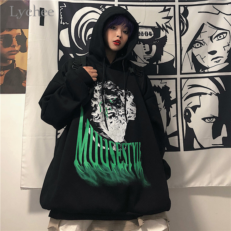 Lychee Harajuku Character Letter Print Women Fleece Hooded Sweatshirt Spring Autumn Winter Lady Tops Casual Loose Female Hoodies