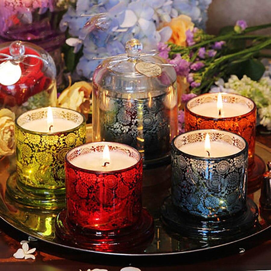 Fragancia romántica Aroma vela tarro de cristal Bougie Blanche cumpleaños navidad regalo chica amiga Aroma vela titular QLB068 Lellen marfil parpadeo velas LED con control remoto perfumada vela de la batería operado de velas de Casa decoración de la boda