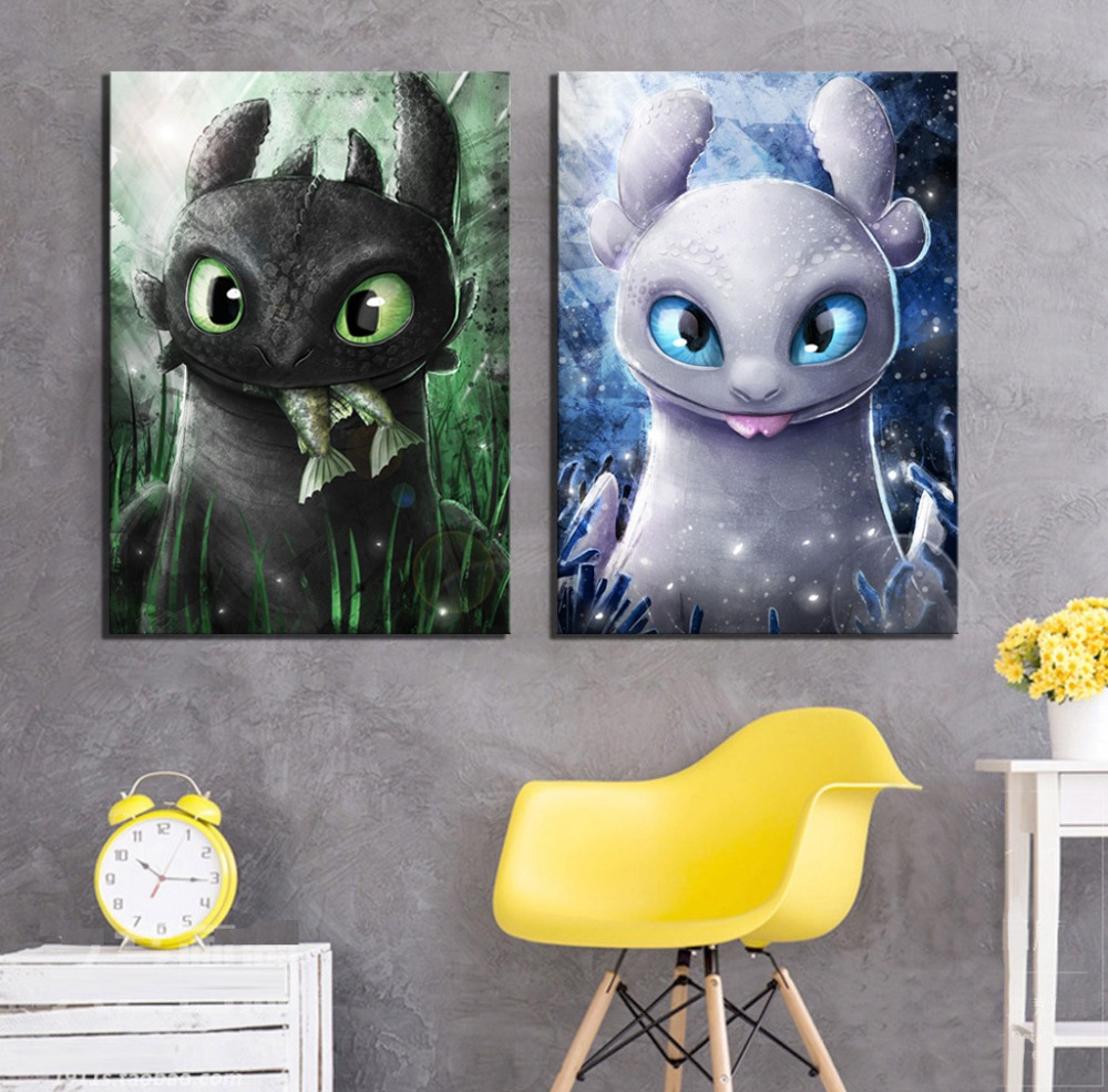 1 Piece Digital Art Cartoon Pictures How To Train Your Dragon The Hidden World Movie Poster Paintings Canvas Art for Wall Decor